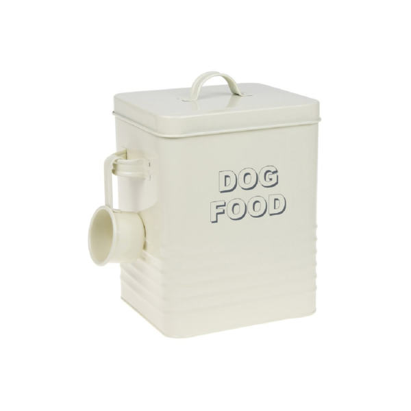 Cream Dog Food Storage Tin with Scoop