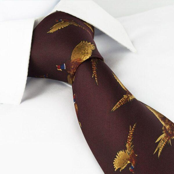 Flying Pheasant Country Silk Tie Burgundy