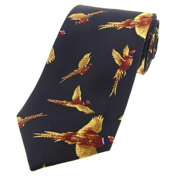 Flying Pheasant Country Silk Tie Navy