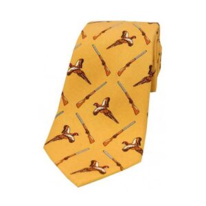 Flying Pheasant and Shotgun on Gold Country Silk Tie