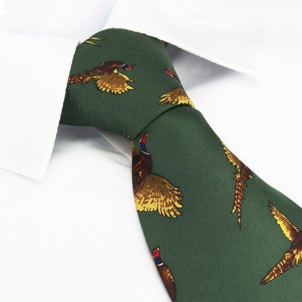 Flying Pheasants Country Silk Tie Green
