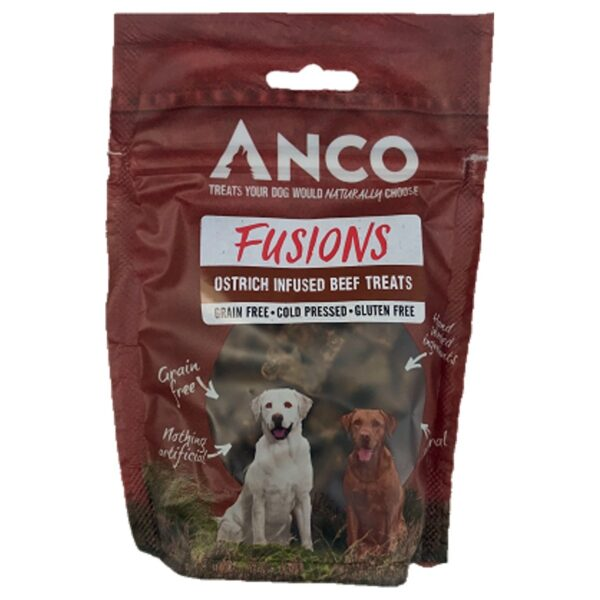 Anco Fusions Ostrich Infused Beef Treats 120g