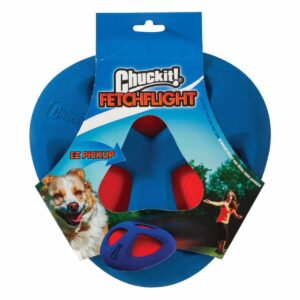 The Chuckit! Fetch Flight is a flexible flyer toy that allows for interactive chase and fetch games with your dog. Made out of easy to clean and long-lasting materials that provides a softer grip for your dog's mouth. The toy also features a durable inner sail that flexes with each flight to allow for better loft during play.